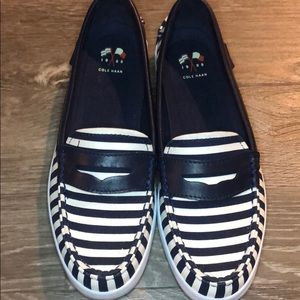 Cole Haan Loafers in Striped Navy Blue and White
